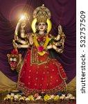 hindu goddess durga  | Shutterstock . vector #532757509