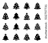 vector christmas trees icon set ...