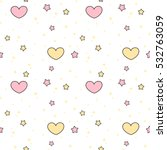 Stock vector cute lovely pink yellow hearts and stars seamless vector pattern background illustration 532763059