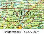geographic map of ohio close | Shutterstock . vector #532778074