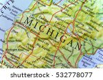 Geographic Map Of Michigan Close