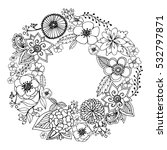 vector circle frame  black and... | Shutterstock .eps vector #532797871