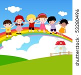 children and rainbow | Shutterstock .eps vector #53280496