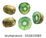 Set Of Fresh Fruit Whole And...