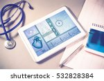 white tablet pc and doctor... | Shutterstock . vector #532828384