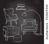 set of hand drawn furniture and ... | Shutterstock .eps vector #532829344