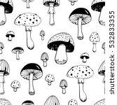 hand drawn mushroom seamless... | Shutterstock .eps vector #532833355