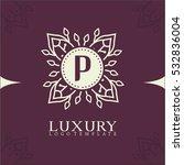 p letter elegant floral logo... | Shutterstock .eps vector #532836004