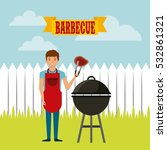 cartoon man with steak of meat... | Shutterstock .eps vector #532861321