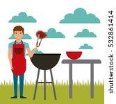 cartoon man with steak of meat... | Shutterstock .eps vector #532861414