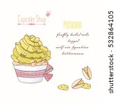 hand drawn cupcake with doodle...   Shutterstock .eps vector #532864105