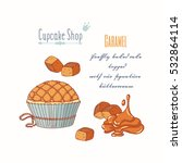 hand drawn cupcake with doodle...   Shutterstock .eps vector #532864114