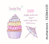 hand drawn rainbow cupcake with ... | Shutterstock .eps vector #532864135