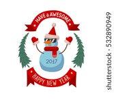 snowman greeting xmas card...   Shutterstock .eps vector #532890949