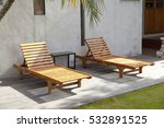 wooden deck chairs on the green ... | Shutterstock . vector #532891525