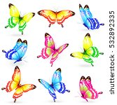 color butterflies isolated on a ... | Shutterstock .eps vector #532892335