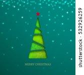 paper christmas tree on green... | Shutterstock .eps vector #532926259