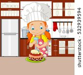 chef girl with apron decorating ... | Shutterstock .eps vector #532939594