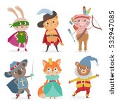 set of cartoon animal kids in... | Shutterstock .eps vector #532947085