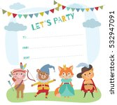 birthday card with cute little... | Shutterstock .eps vector #532947091