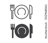 plate fork and knife line icon  ... | Shutterstock .eps vector #532968061