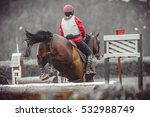 young woman jumps a horse... | Shutterstock . vector #532988749
