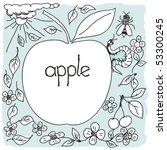 hand drown apple world | Shutterstock .eps vector #53300245