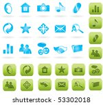 Blue And Green Vector Icon Set...