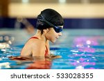 girl child swimmer in a red... | Shutterstock . vector #533028355