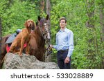 handsome man with a red horse...   Shutterstock . vector #533028889