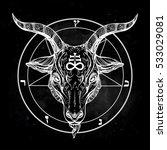 pentagram with demon baphomet.... | Shutterstock .eps vector #533029081