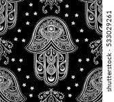 ornament card with hamsa.... | Shutterstock .eps vector #533029261