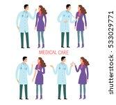 woman patient and doctor set.... | Shutterstock .eps vector #533029771