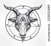 pentagram with demon baphomet.... | Shutterstock .eps vector #533031889