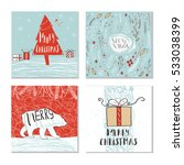 set of 4 cute gift cards and... | Shutterstock .eps vector #533038399