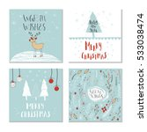 set of 4 cute gift cards and... | Shutterstock .eps vector #533038474
