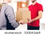 woman accepting a delivery of... | Shutterstock . vector #533041669