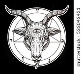 pentagram with demon baphomet.... | Shutterstock .eps vector #533043421