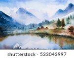 winter watercolor landscape. | Shutterstock . vector #533043997