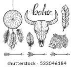 Set Of Boho Elements. Bull...