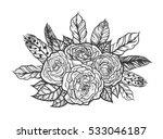blackwork tattoo of rose and... | Shutterstock .eps vector #533046187