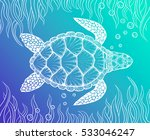 Sea Turtle In Line Art Style....
