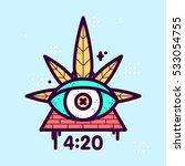 graphic line art style weed eye ...