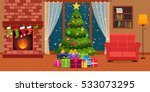christmas room interior with... | Shutterstock .eps vector #533073295