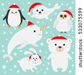 arctic polar animal set in red...   Shutterstock .eps vector #533075599