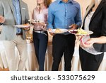 businesspeople group hold plate ... | Shutterstock . vector #533075629