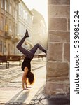 young woman make handstand  in... | Shutterstock . vector #533081524