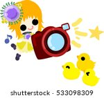 the cute girl and chicks and a...   Shutterstock .eps vector #533098309