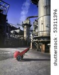 Detailed view of an old petrochemical refinery.(Analog image) - stock photo