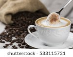 cappuccino coffee cup and spoon ... | Shutterstock . vector #533115721